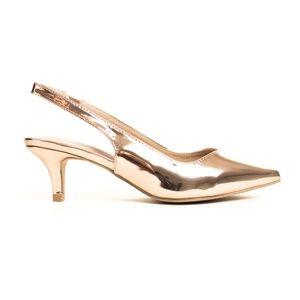 Women's Pointy Toe Low Heeled Slingback Pump
